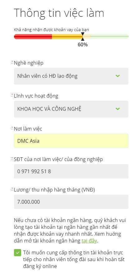 Hướng dẫn vay tiền Doctor Đồng thành công